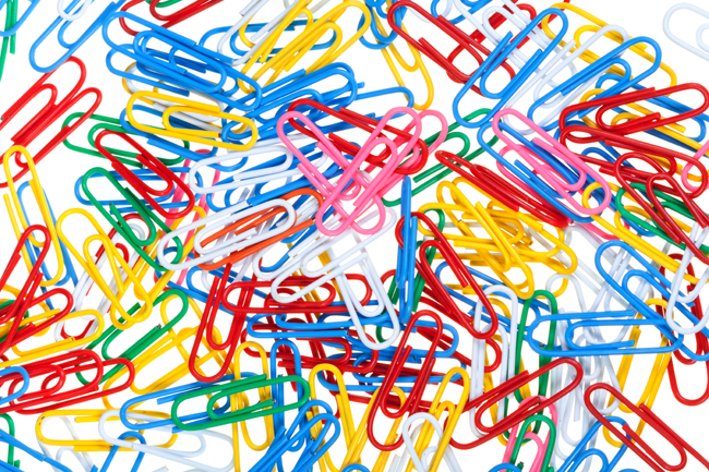 background from many color paper clips