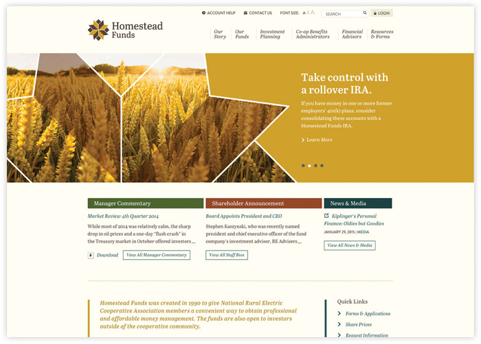 Homestead Funds Responsive Website