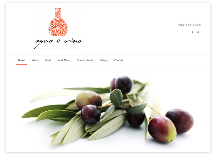 Aqua e Vino Website Design