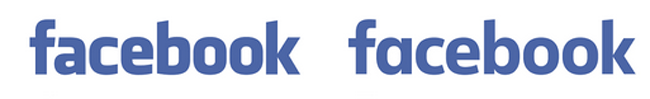 Facebook Logo Before (L) and After (R) Redesign