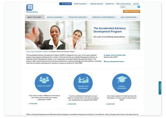 Accelerated Advisory Development Program Career Microsite