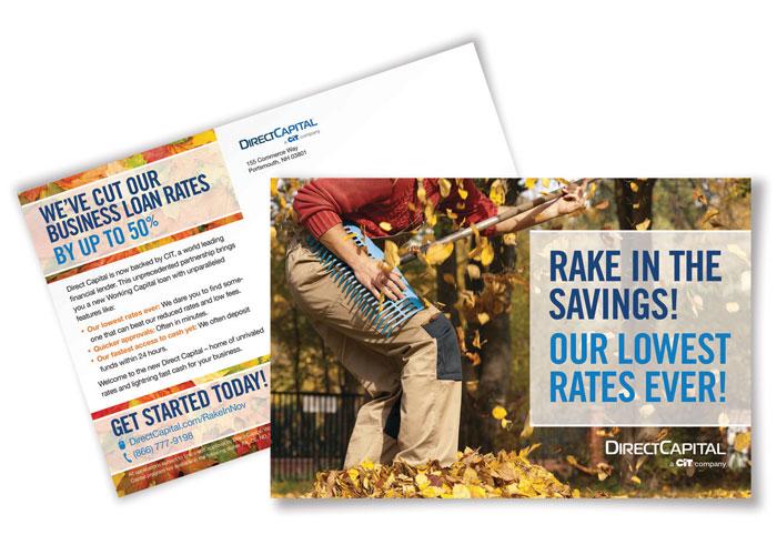 """Fall """"Rake In The Savings"""" Postcard"""