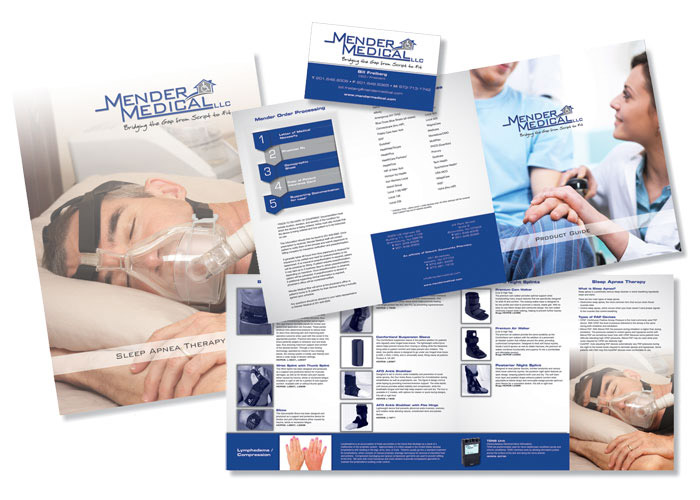 Mender Medical Folders, Brochures and Graphic Materials