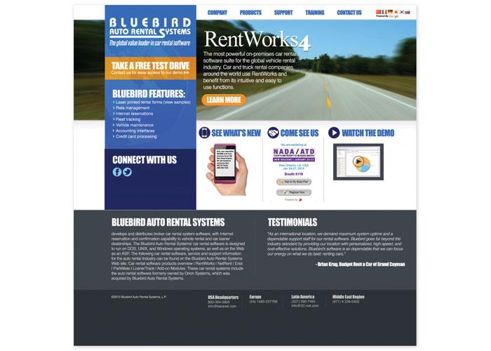 Blue Bird Auto Rental Website Design by Paradigm Marketing and Design