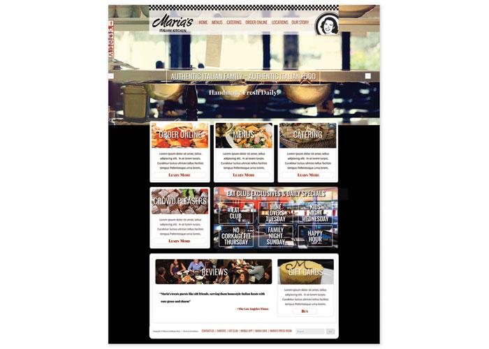 Maria's Italian Kitchen Website by Lentini Design & Marketing, Inc.