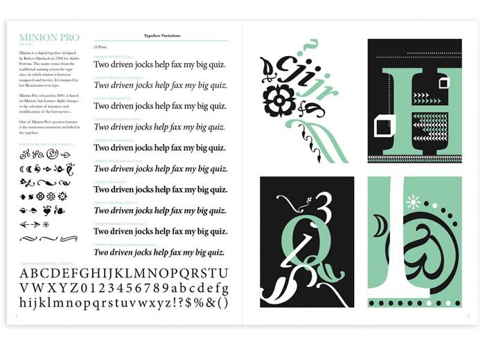 Minion Pro Typographic Specimen by PrattMWP College of Art and Design