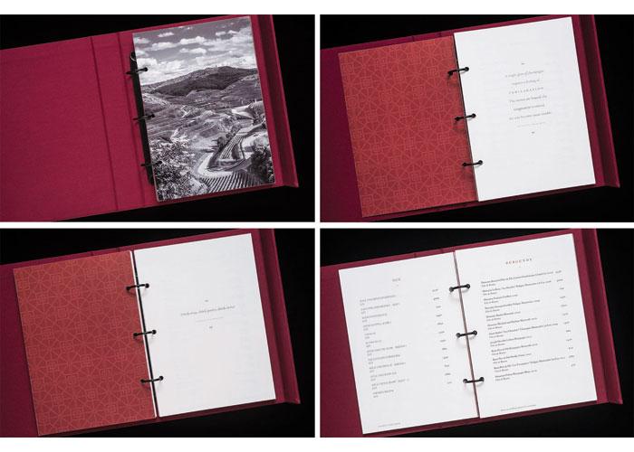 Wine Menu Binder Box Identity and Menus by Regina Rubino / Robert Louey