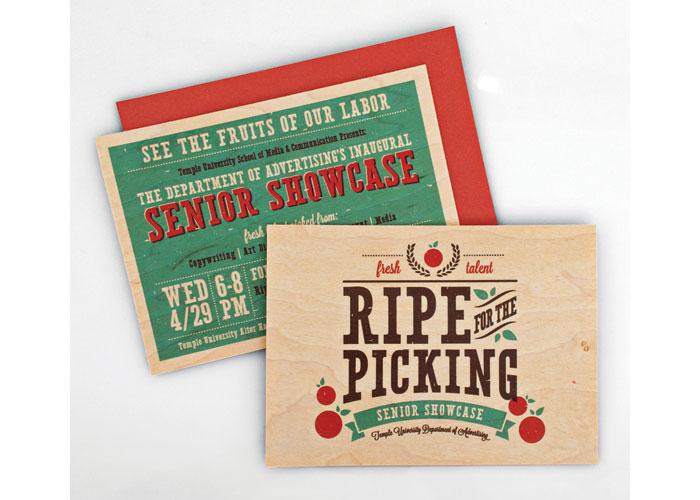Ripe for the Picking Senior Showcase Invite by Temple University School of Media & Communication