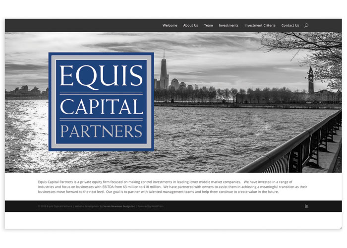 Equis Capital Partners Website by Susan Newman Design Inc.