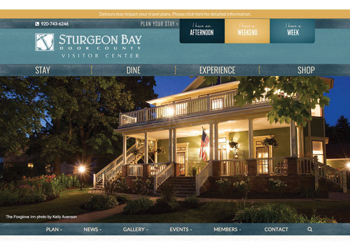 Sturgeon Bay Visitor Center Tourism Website by Signalfire, LLC