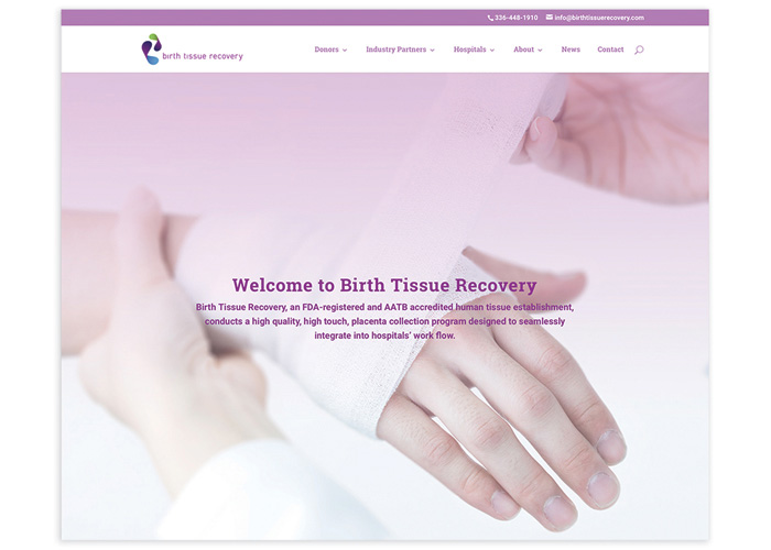 Birth Tissue Recovery Website by Fifth Letter