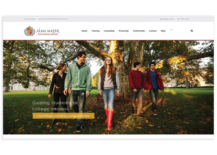 Alma Mater Website Design by Clever Creative