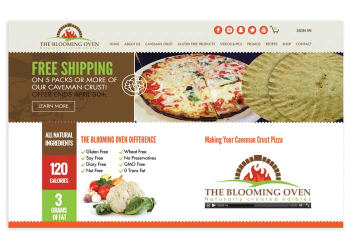The Blooming Oven Website by Paradigm Marketing and Design