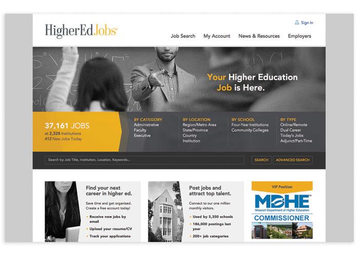 HigherEdJobs Website by Rowland Creative