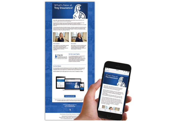 Troy Insurance Responsive Email Blast Announcement by TFI Envision, Inc.