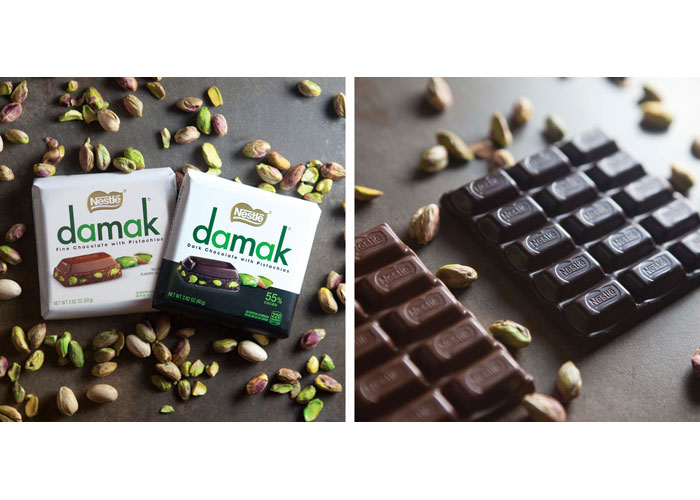 Nestlé Damak Fine & Dark Chocolate w/Pistachios Packaging