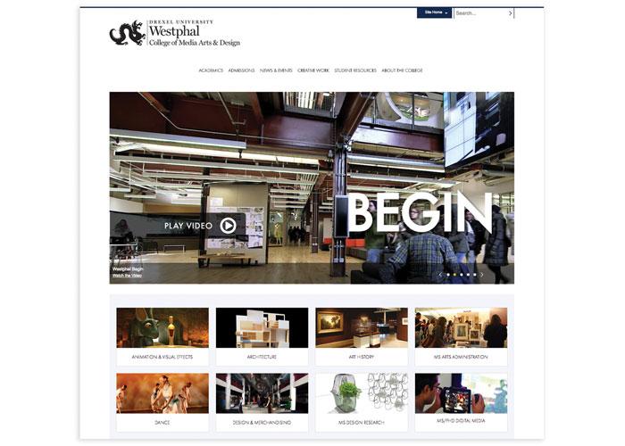 Drexel University Westphal College of Media Arts & Design Website Design