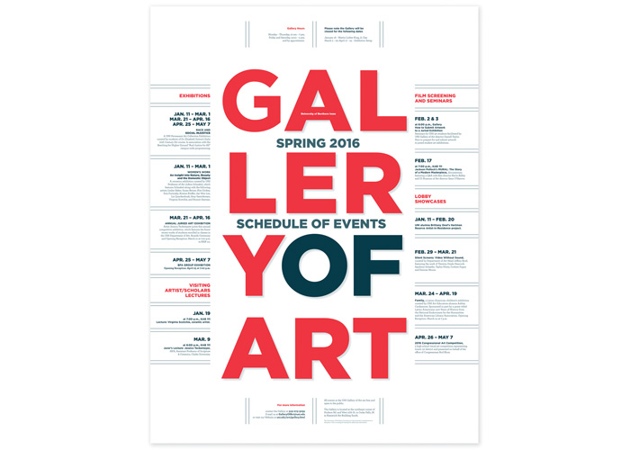 Spring 2016 Gallery Schedule