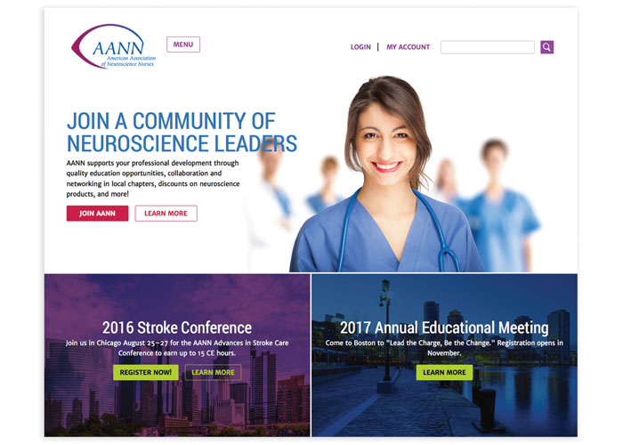 AANN Website Redesign by Association Management Center Creative Media Services