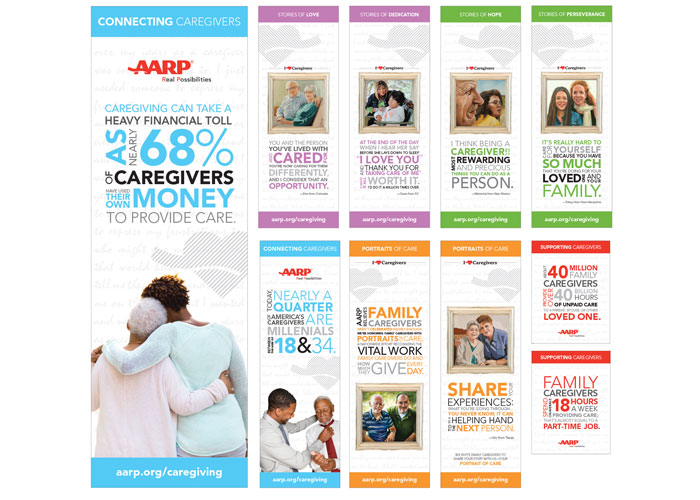 AARP Caregiving Lobby Display by AARP Brand Creative Services