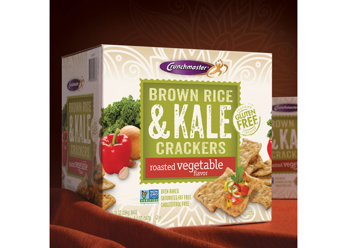 Crunchmaster Brown Rice & Kale Crackers Packaging by Design North