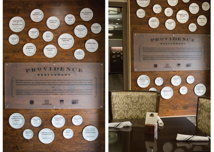 Providence Restaurant Donor Recognition Wall by Fifth Letter