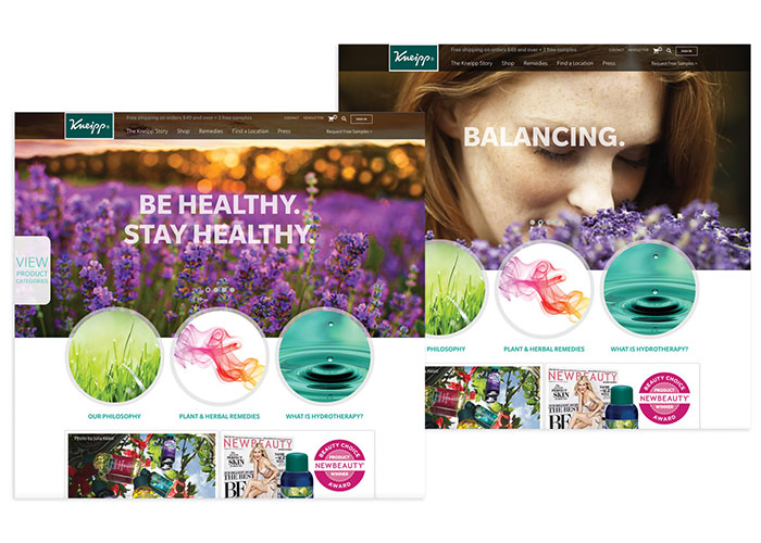 Kneipp US Website Design by Marena Studios/Cosmos