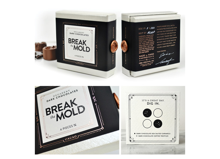 Title: Break the Mold: Limited Edition Chocolates Holiday Gift by Jess Glebe Design + C.R. Copywriting