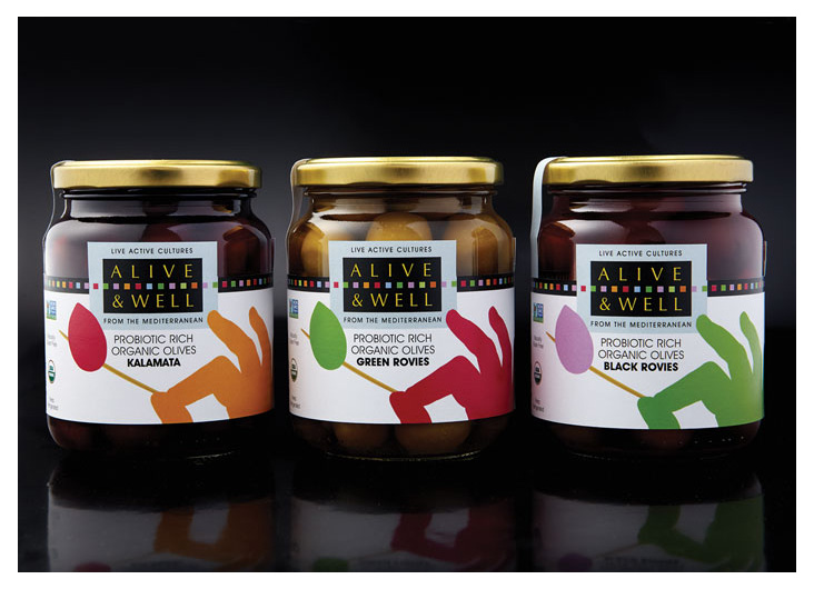 Alive & Well Olives Packaging by Gauger + Associates San
