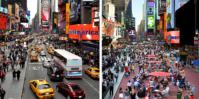 Times Square Streetscape Improvement, a pedestrian-mobility plan that highlighted the necessary methods to address the chaotic, congested, and unappealing condition of New York Cityís most dynamic public space, and to enhance Times Square as a creative, thriving, and engaging urban center. In response to the study, Times Square has undergone a substantial physical transformation (New York, New York, 2004). Project partner: Times Square Alliance. Photo: NYC Department of Transportation