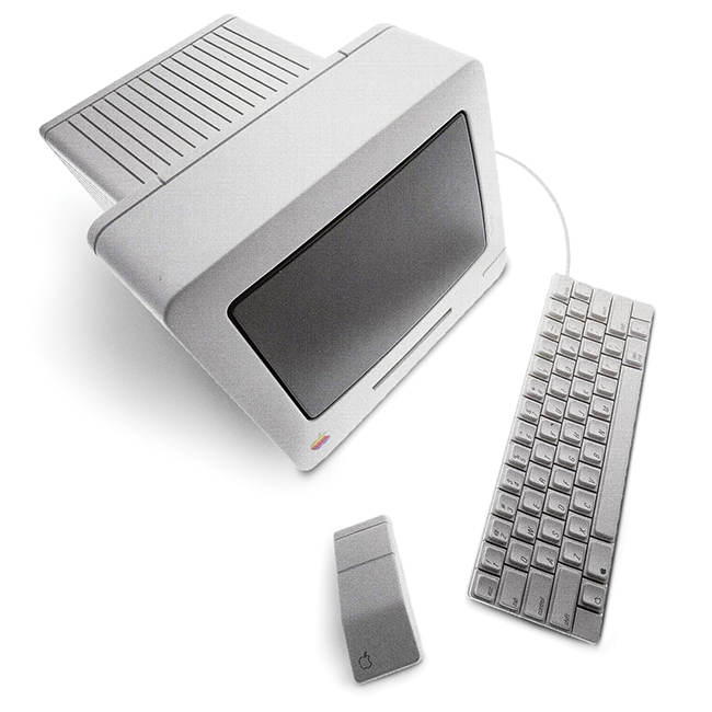 Apple Baby Mac, a computer that defined personal computers as intelligent consumer devices and featured zero-draft design and high-end plastics without paint. It was set to launch in 1986 and shelved due to Steve Jobsí departure (1982ñ1986). Photo: Courtesy of Hartmut Esslinger