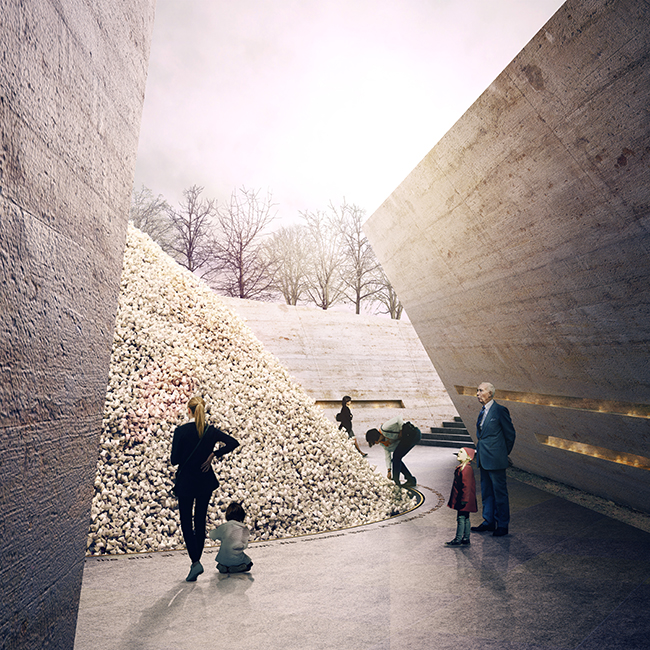 United Kingdom National Holocaust Memorial design proposal, focused on having memorials of the future do more than just mark the past but make visitors pledge to fight intolerance in the future. Proposal includes a pile of six million stones that represent the six million Jewish victims of the holocaust and the individual removal of the stones by six million visitors will over time distribute the memorial to six million places (London, United Kingdom, concept 2017). Project partners: John McAslan + Partners, Lily Jencks Studio, and Local Projects. Photo: MASS Design Group, John McAslan + Partners, and Lily Jencks Studio