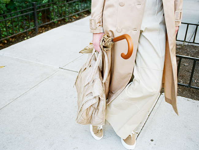 Khaki wide leg pants with wide elastic, khaki nylon rectangular bag, and khaki contrast lining trench coat (New York, New York, 2016). Photo: Slow and Steady Wins the Race