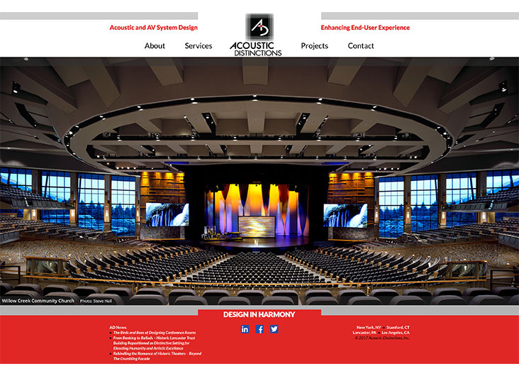 Acoustic Distinctions Website by Millward and Millward LLC