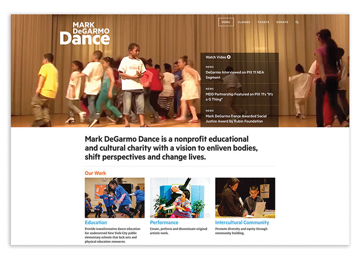 Mark DeGarmo Dance Branding & Website Design by KUDOS Design Collaboratory