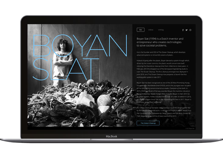 Boyan Slat Website by Shawn Meek