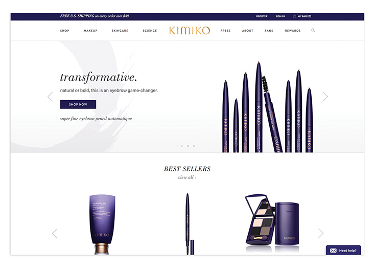 Kimiko Beauty Website by Creating Digital LLC