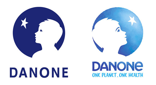 Danone Logo Before and After Redesign