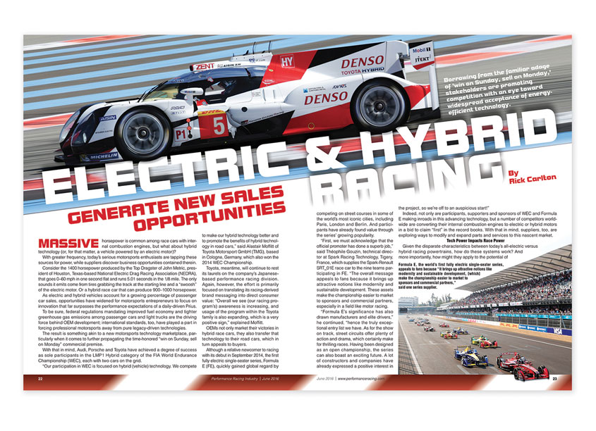Electric Hybrid Racing Magazine Spread by Performance Racing Industry