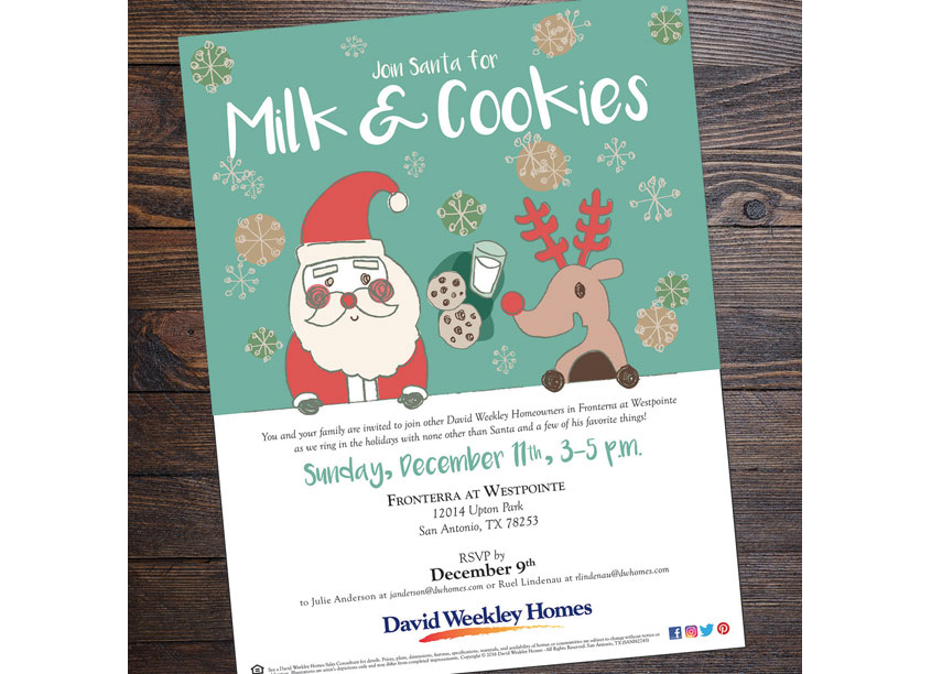 Milk and Cookie Invite by David Weekley Homes
