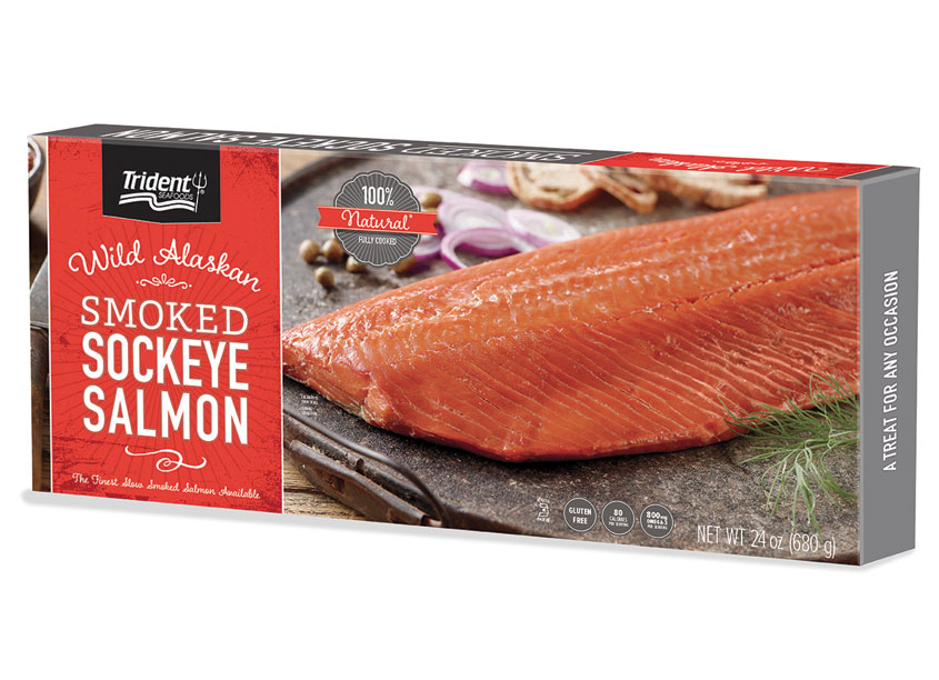 Smoked Sockeye Salmon Packaging by Trident Seafoods