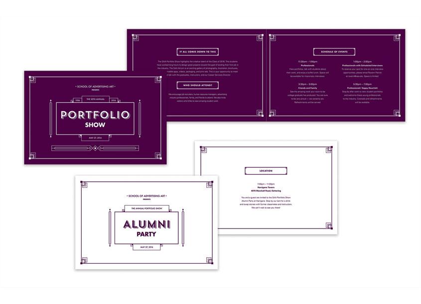 2016 Portfolio Show Invitation Set Creative Directors: Matt Flick, Jessica Barry by School of Advertising Art (SAA)