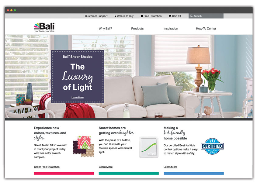 Bali Blinds Website Redesign by Springs Window Fashions