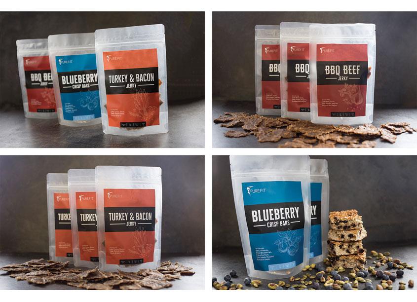 PureFit Meals: Snackline Product Packaging by PureFit Meals & Bleu Events