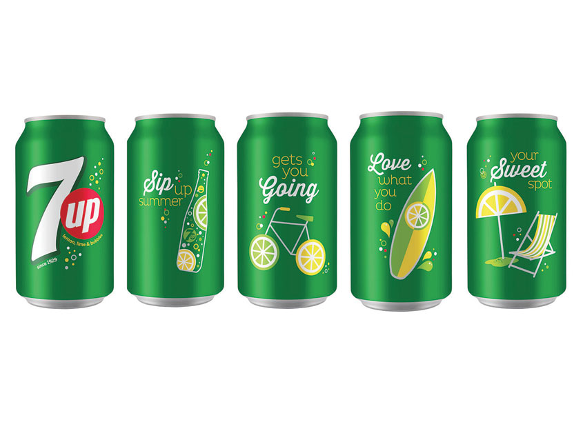 7UP Sip Up Summer Series Cans by PepsiCo Design & Innovation