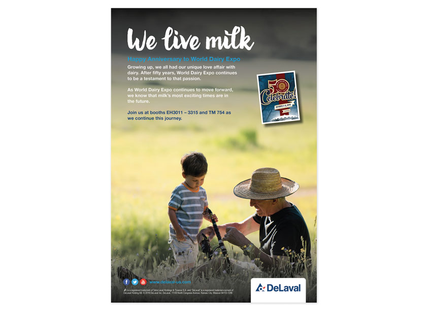 We Live Milk Advertisement by DeLaval Inc.