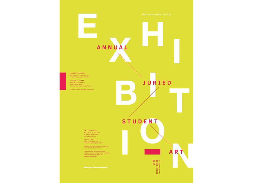 2017 Student Exhibition Poster by University of Northern Iowa Department of Art