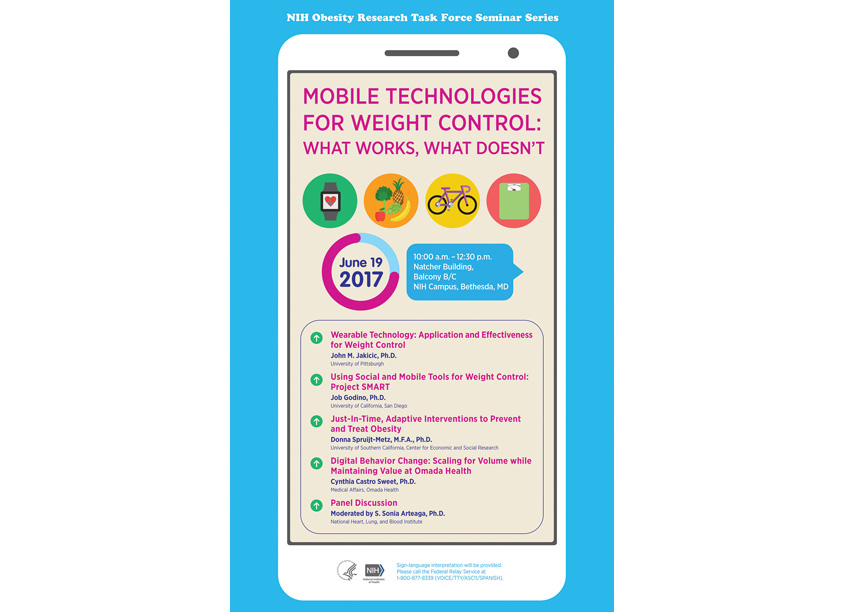NIH Medical Arts Branch Mobile Technologies & Weight Control Seminar Poster