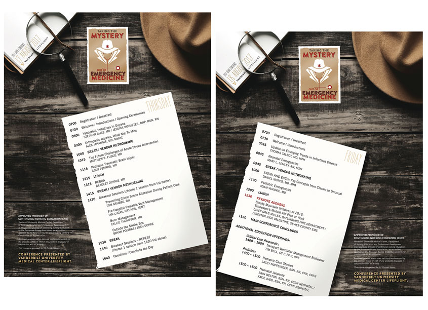 Donna Huff Design 2017 Vanderbilt LifeFlight iServe Emergency Care Conference Agenda Flyers