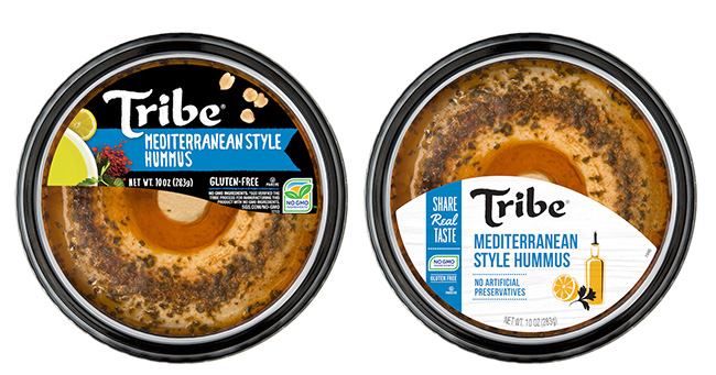 Tribe Hummus before (left) and after (right) redesign